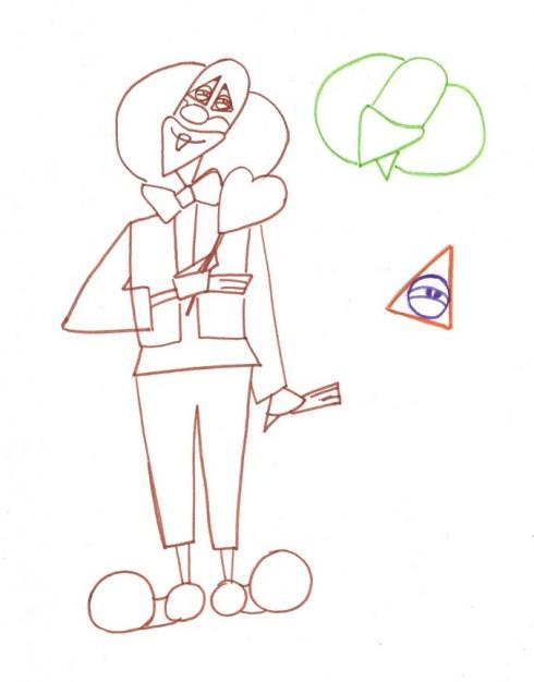 Рисунок клоуна (набросок клоуна)