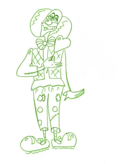 Рисунок клоуна (клоун зеленым)